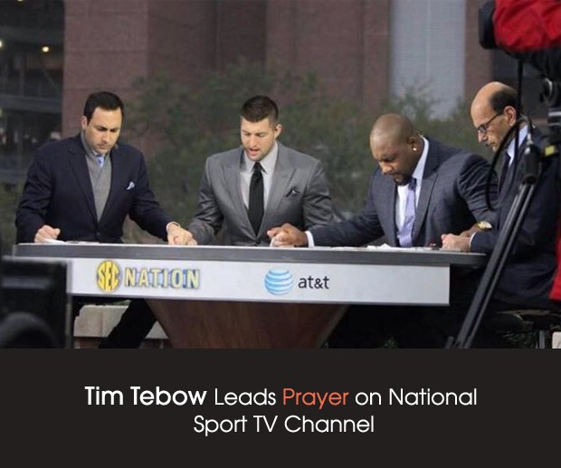 cover Tim Tebow Prays at SEC