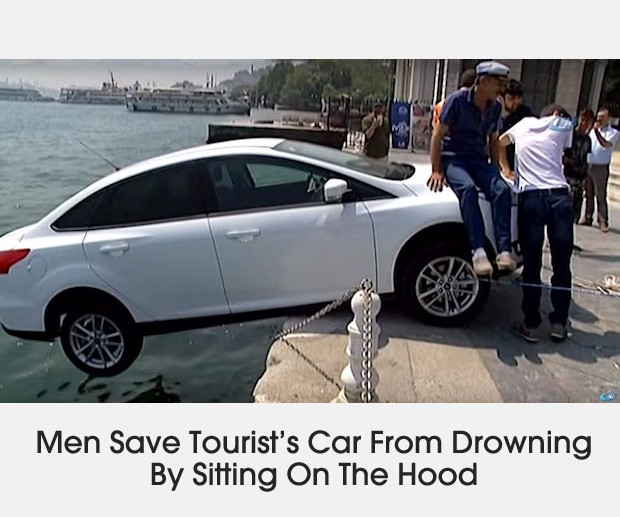 Cover men save car by sitting on hood